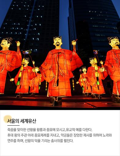 서울의 세계유산: 죽음을 맞이한 선왕을 왕릉과 종묘에 모시고,유교적 예를 다한다. 후대 왕의 주관 아래 종묘제례를 지내고, 악공들은 장엄한 제사를 위하여 노래와 연주를 하며, 선왕의 덕을 기리는 춤사위를 펼친다.